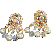 SALE Layered Aurora Borealis Rhinestone Earrings with Faux Pearl and Crystal Danglers