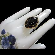 Superb Jet Black Glass and Black Enamel Victorian Style Ring, Size 10