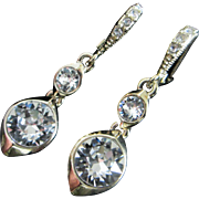 Dazzling Givenchy Designer Rhinestone Earrings, Pierced