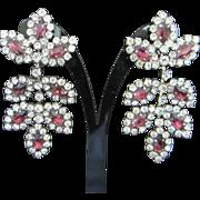 SALE Vintage Amethyst and Clear Rhinestone Divine Chandelier Drop Earrings
