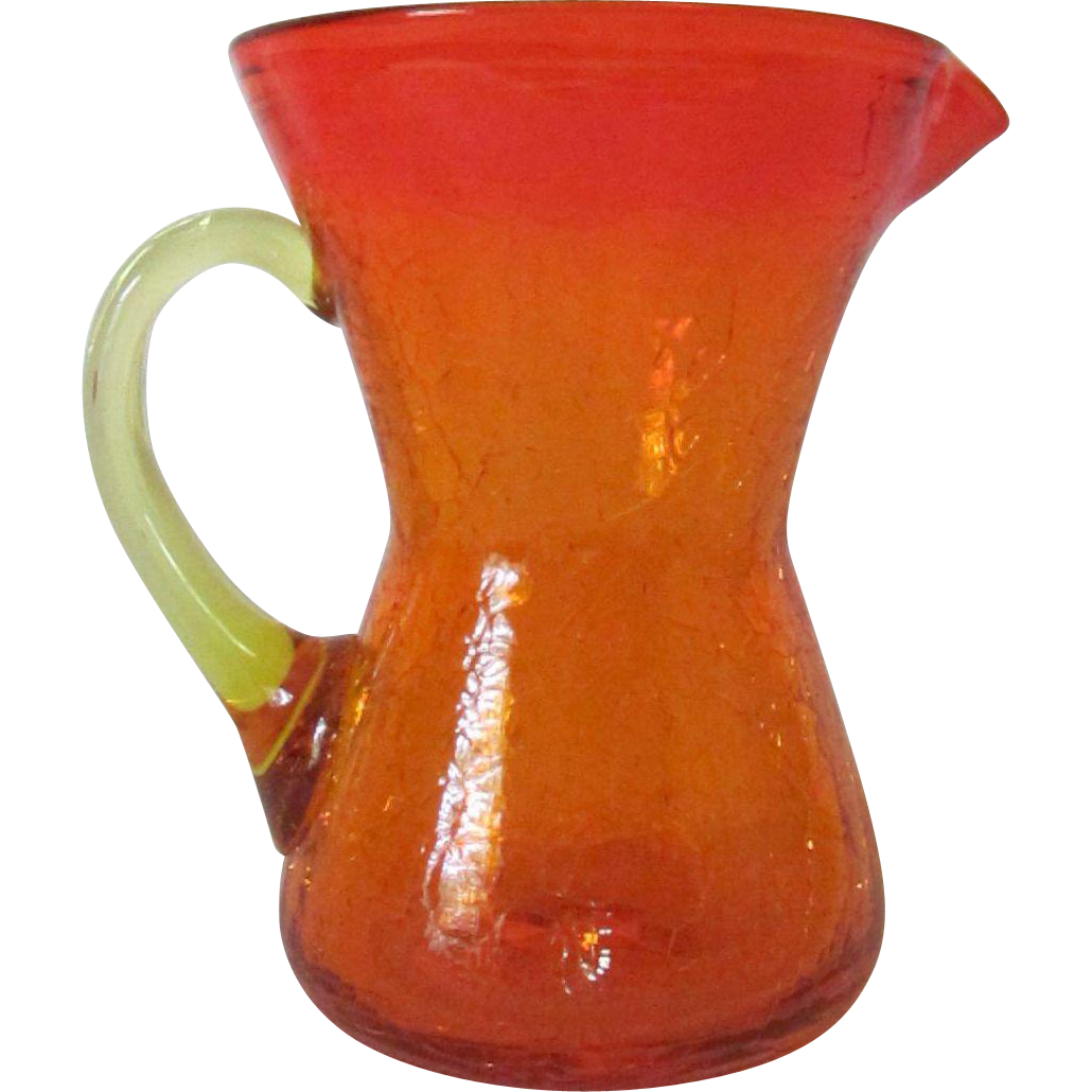 Amberina Crackle Glass