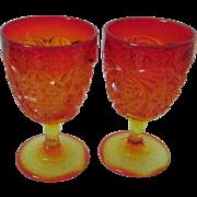 Vintage Amberina Goblets, Glasses, Set of 2