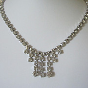 SALE Vintage Clear Sparkling Rhinestone Choker Necklace