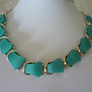 SALE Vintage Seafoam Green Thermoset Choker Necklace