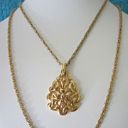 SALE Vintage Crown Trifari Modernist Pendant with Double Chain