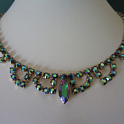 Vintage Emerald Aurora Borealis Rhinestone Choker Necklace