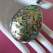 SALE Stunning Large Abalone Shell Pendant Necklace