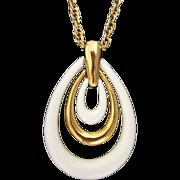 SALE Trifari Triple Teardrop White Lucite Pendant Necklace
