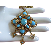 SALE Ornate Turquoise Glass Necklace with Danglers