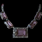 SALE Delicate Amethyst Rhinestone Choker-Style Necklace