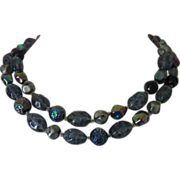 SALE Kramer Deep Blues and Black Glass Bead Double Strand Necklace