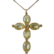 Beautiful Jonquil Rhinestone Cross Pendant Necklace
