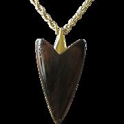 SALE Sleek and Modern Trifari Faux Tortoiseshell Lucite Arrowhead Pendant Necklace