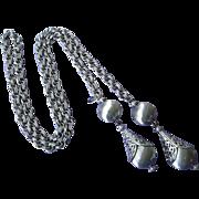 SALE Vintage Monet Silver Tone Lariat Necklace