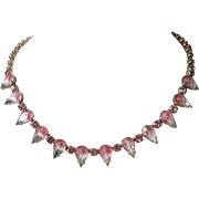 SALE Pink Givre and Rhinestone Choker Necklace