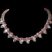 Pink Givre and Rhinestone Choker Necklace