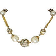 Vintage Rhinestone Rondelles and Faux Pearl Necklace