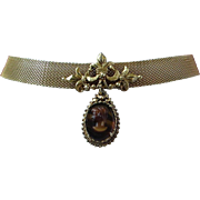 SALE Florenza Gold Tone Mesh and Glass Cameo Choker Necklace