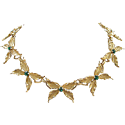 Gold Tone Butterflies with Emerald Green Rhinestones Necklace