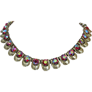 Coro Raspberry Aurora Borealis Rhinestone and Gold Tone Necklace