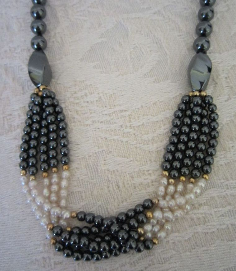 Vintage Hematite and Freshwater Pearl Necklace