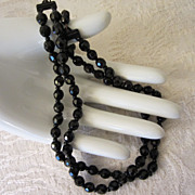 Vintage Germany Black Glass Necklace Choker