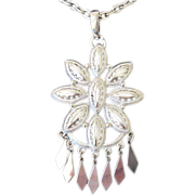 Vintage Large Silver Tone Hanging Pendant Necklace