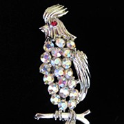 Vintage Rhinestone Bird Figural Brooch Pin; Cockatoo Signed BSK ~ 50% OFF!