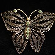 Vintage Peridot Rhinestone Butterfly Figural Brooch Pin ~ 1/2 OFF!