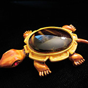 Vintage Enamel and Faux Tortoise Shell Turtle Figural Brooch Pin