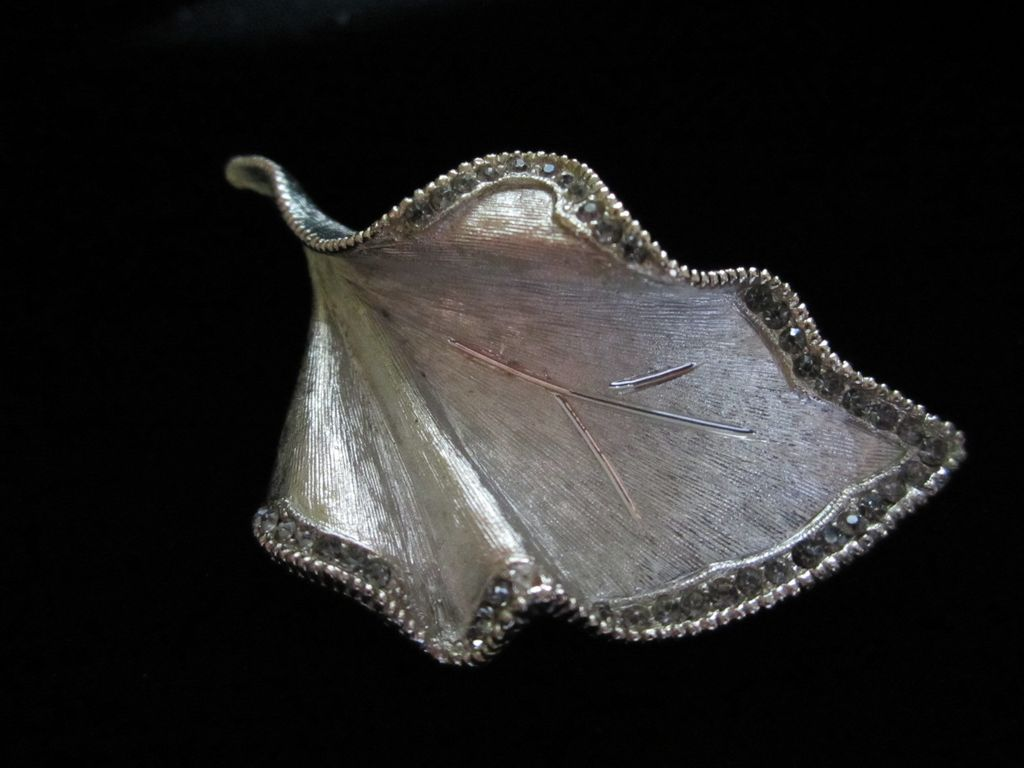 Vintage BSK  Smokey Rhinestone Leaf Brooch Pin
