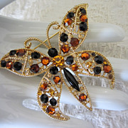Vintage Topaz and Black Rhinestone Butterfly Figural Pin Brooch