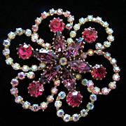 SALE Fabulous Vintage Made In Austria Rhinestone Flower Pin Brooch