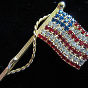 Vintage Red, Clear and Blue Rhinestone Flag Figural Pin Brooch