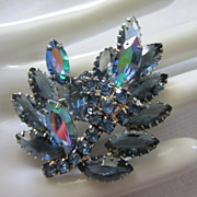Vintage Unfoiled Rhinestone Torch Pin Brooch