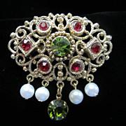 SALE Vintage Ruby & Olivine Rhinestones with Dangling Faux Pearls Pin Brooch