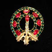 SALE PENDING Vintage Christmas Wreath Rhinestone Pin Brooch