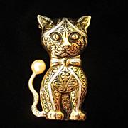 Vintage Handsome Damascene Cat Figural Pin Brooch, signed Spain