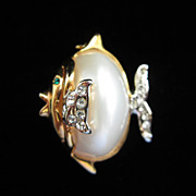 Vintage Puffy Faux Pearl Bodied Fish with Rhinestones Pin Brooch