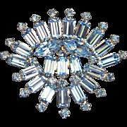 SALE Brilliant Light Sapphire Blue Fan-Shaped Brooch Pin