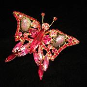 SALE Sparkling Fuchsia and Garnet Rhinestone Butterfly Figural Pin Brooch