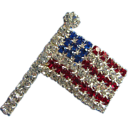 SALE Sparkling Patriotic Rhinestone Flag Pin Brooch