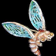 Whimsical Enamel & Rhinestone Bug Figural Pin Brooch