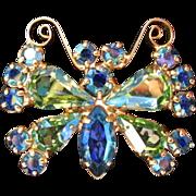 SALE Petite B. David AB Rhinestone Butterfly Pin Brooch