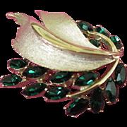 SALE BSK Radiant Emerald Green Rhinestone Brooch