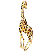 Large and Lovely Rhinestone Enamel Giraffe Pin Brooch