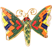 Italian Micromosaic Butterfly Pin Brooch