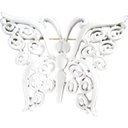 Trifari Elegant White Enamel Butterfly Pin Brooch