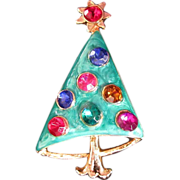 Whimsical Enamel & Rhinestone Hooped Christmas Tree Pin
