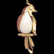 SALE Elegant Trifari White, Gold Tone Bird Pin Brooch